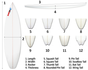 Surfboard: choose a surfboard by learning more about the nose, tail, fin setup, thickness, rocker and bottom contours